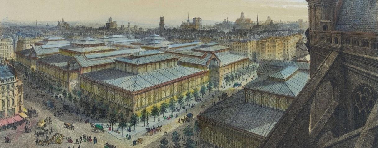 Les Halles, vue prise des galeries de l'église Saint-Eustache, Anonyme