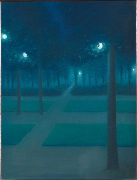William Degouve de Nuncques-Nocturne au Parc Royal de Bruxelles