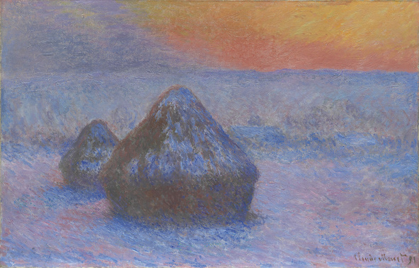Claude Monet-Meules, effet de neige, soleil couchant