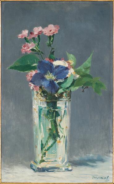 Edouard Manet-Oeillets et clématite dans un vase de cristal