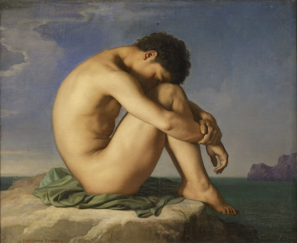Hippolyte Flandrin-Jeune assis au bord de la mer, étude