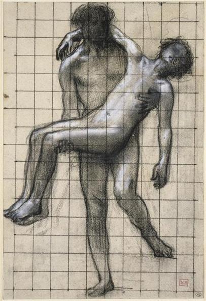 Pierre Puvis de Chavanne-Homme nu portant un adolescent nu