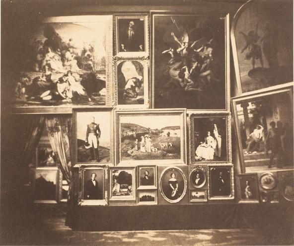 Gustave Le Gray-Salon de 1852, Grand Salon mur nord (au centre : Les demoiselles de village de Gustave Courbet)
