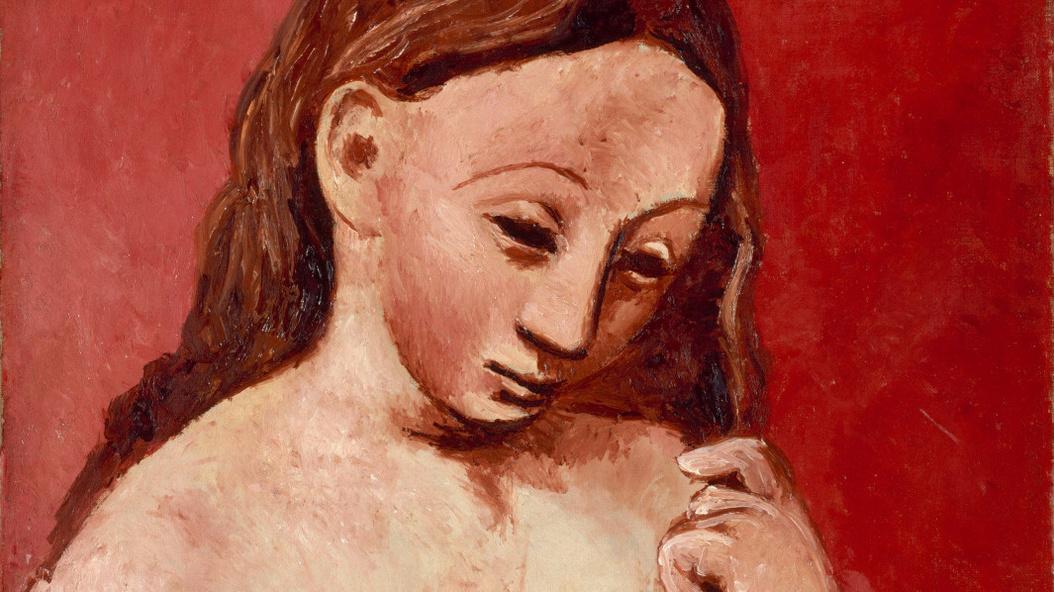 Pablo Picasso-Nu sur fond rouge