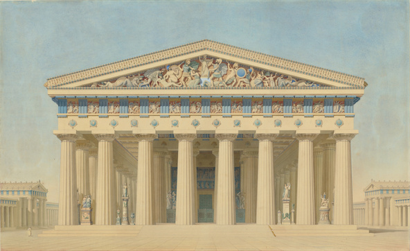 Jacques Ignace Hittorff-Temple T à Sélinonte (Sicile), élévation restituée de la façade principale