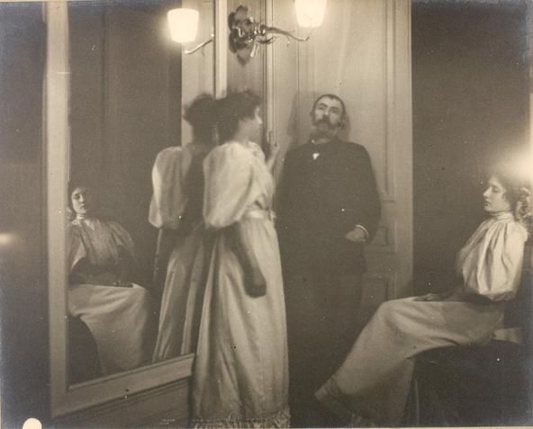Edgar Degas-Portrait au miroir d'Henry Lerolle et de ses deux filles, Yvonne et Christine
