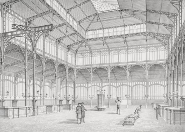 Victor Baltard et Félix Callet-Les Halles centrales : vue intérieure du pavillon n°4
