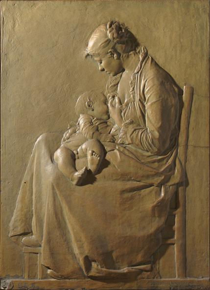Alexandre Charpentier-Jeune mère allaitant son enfant