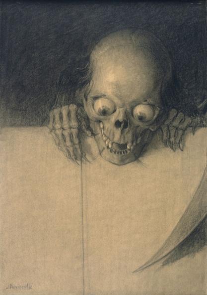 Julien-Adolphe Duvocelle-Crâne aux yeux exorbités et mains agrippées à un mur (détail)