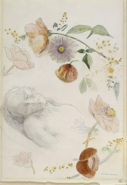 Odilon Redon-Buste d'homme aux yeux clos, entouré de fleurs