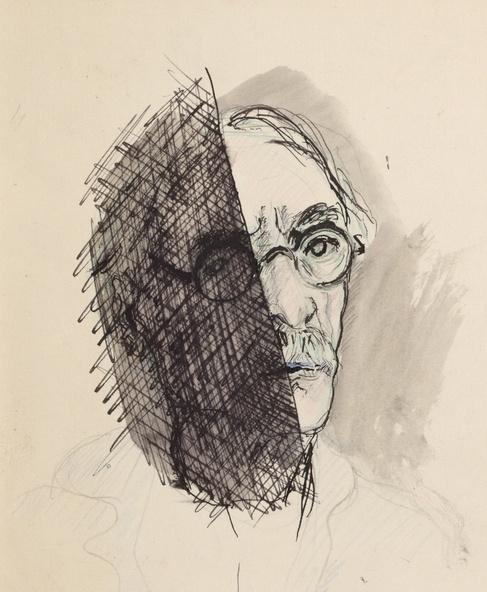 Autoportrait. Dessin figurant dans le Cahier 165. 2 décembre 1935-6 janvier 1936