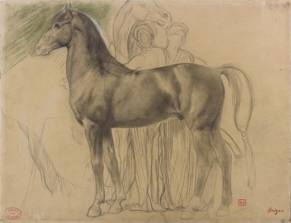 Edgar Degas-Cheval de profil à gauche et deux femmes retenant un cheval, étude pour Sémiramis construisant Babylone (Paris, musée d'Orsay)