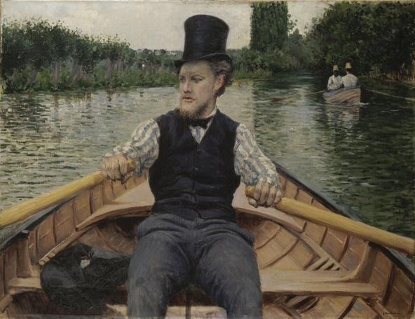 Gustave Caillebotte-Partie de bateau, dit Canotier au chapeau haut de forme