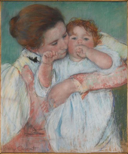 Mary Cassatt-Mère et enfant sur fond vert ou Maternité