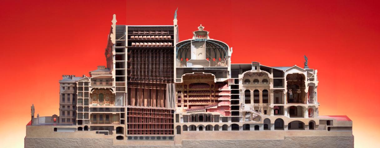 Opéra de Paris, maquette de la coupe longitudinale