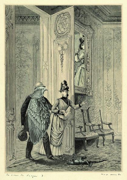 Max Ernst-Collage tiré de Une semaine de bonté. La cour du dragon 7