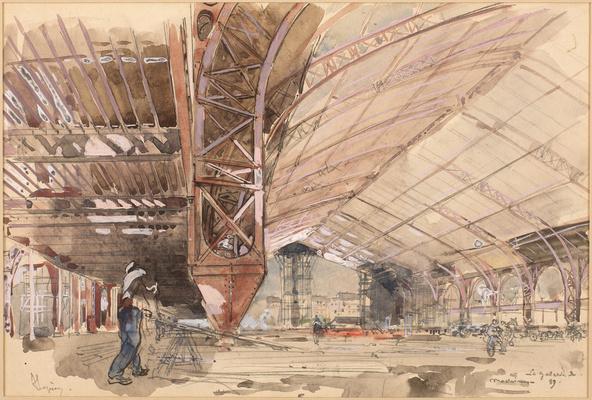 Auguste Lepère-La galerie des machines en construction
