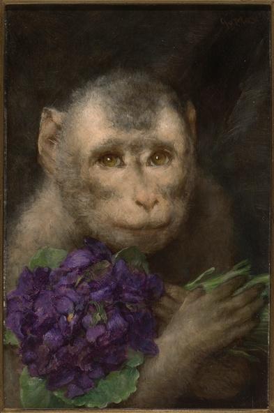 Gabriel von Max-Gruss (Greeting (Monkey with Bouquet))