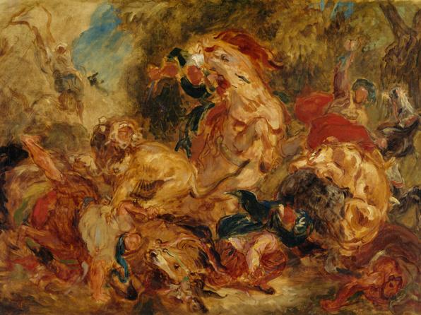 Chasse aux lions (esquisse)
