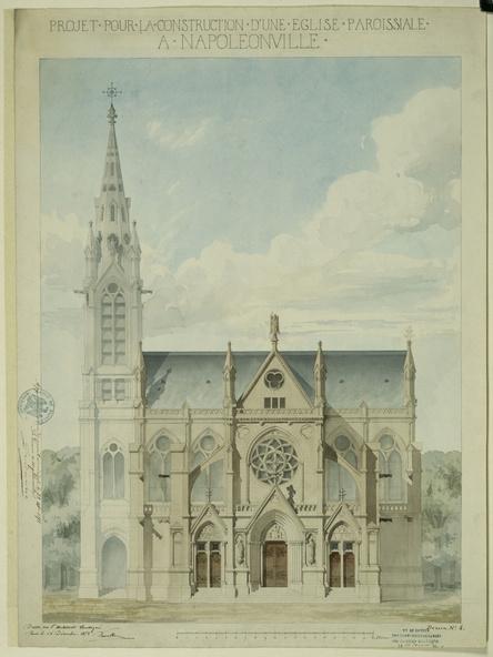 Victor Ruprich-Robert-Cathédrale de Sée, façade principale, plan et élévation