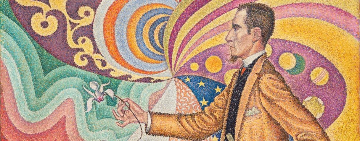 Portrait de Fénéon. Opus 217. Sur l'émail d'un fond rythmique de mesures et d'angles, de tons et de teintes, portrait de M. Félix Fénéon en 1890 (1890-1891), Paul Signac