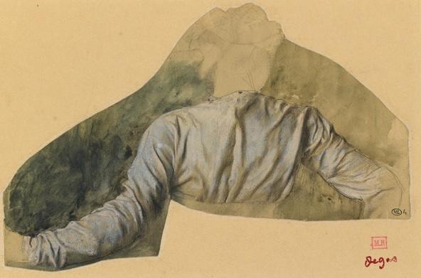 Edgar Degas-Jeune femme en buste vue de dos, étude pour Sémiramis construisant Babylone