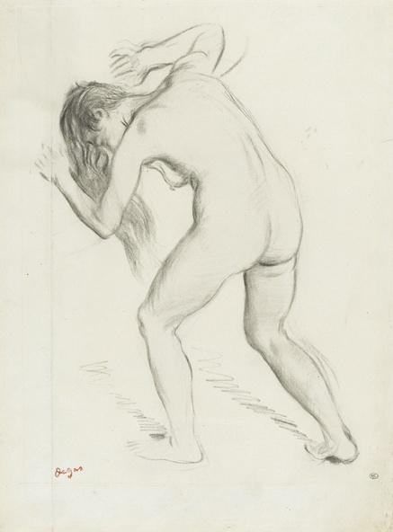 Edgar Degas-Femme nue debout, penchée en avant, cheveux défaits, étude pour Scène de guerre au Moyen àge