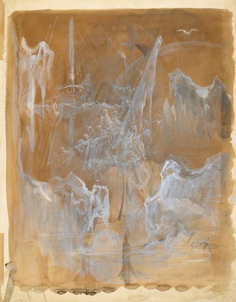 Gustave Doré-Alors arrivèrent ensemble brouillard et neige, dessin préparatoire pour l'illustration de The Rime of the Ancient Mariner de Samuel Taylor Coleridge