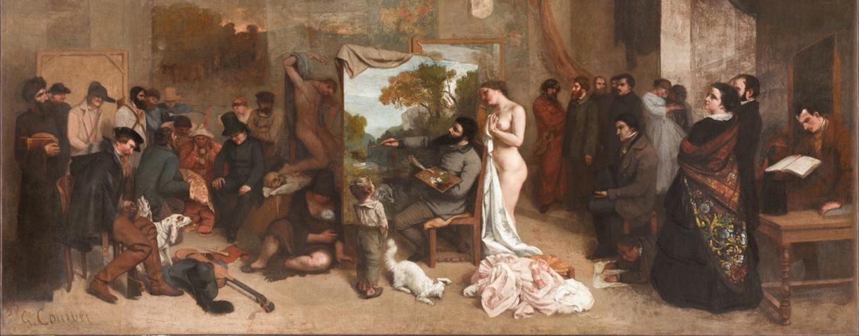 L'Atelier du peintre, allégorie réelle déterminant une phase de sept années de ma vie artistique (détail), Gustave Courbet, Courbet, Gustave