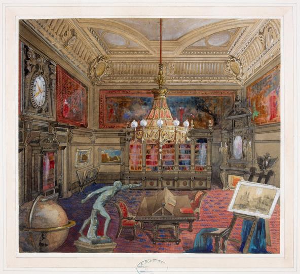 Antoine Zoegger-Projet de décor pour la bibliothèque du Palais Nathaniel de Rothschild