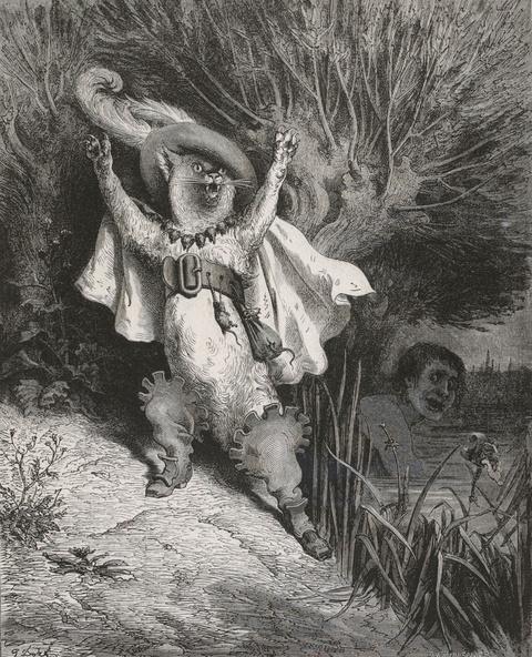 Gustave Doré-Charles Perrault, Contes, illustré par Gustave Doré, gravé par Adolphe François Pannemaker (1822-1900), Paris, Hetzel, 1862, in-fol. Au secours ! au secours ! voilà M. le marquis de Carabas qui se noie, frontispice pour Le Chat botté