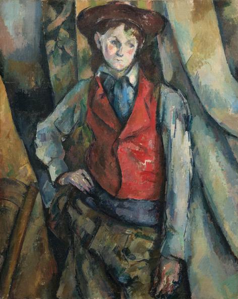 Paul Cézanne-Le garçon au gilet rouge