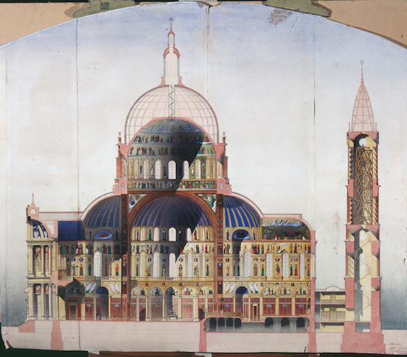 Alphonse Gosset-Coupe longitudinale d'une église