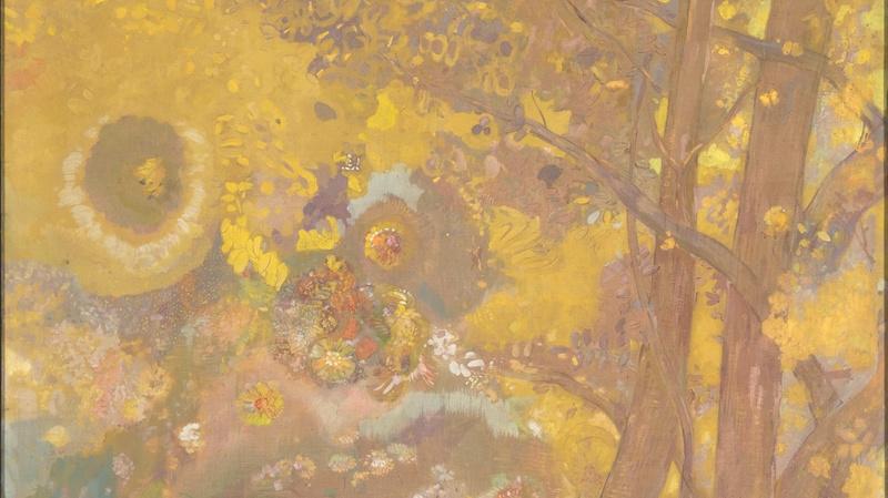Arbres sur fond jaune (en 1901), Redon, Odilon