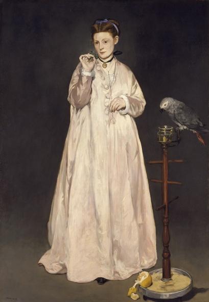 Edouard Manet-Jeune dame en 1866, dite aussi la femme au perroquet