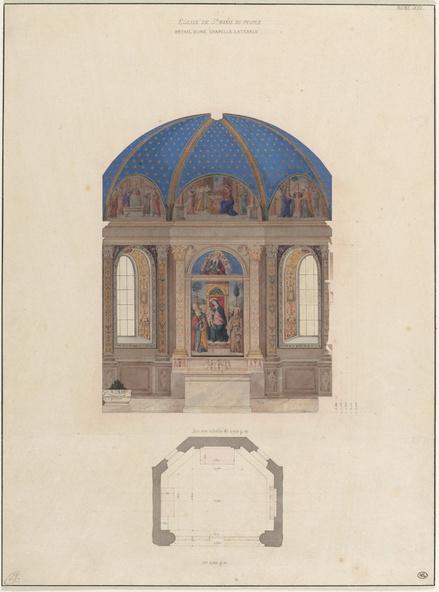 Léon Vaudoyer-Chapelle latérale de Sainte Marie du Peuple, Rome, élevation et plan