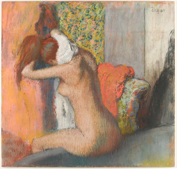 Edgar Degas-Après le bain, femme nue s'essuyant la nuque
