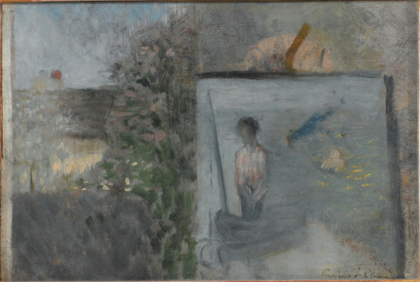 Georges Seurat-Paysage avec Le pauvre pêcheur de Puvis de Chavannes dit aussi Hommage à Pierre Puvis de Chavannes