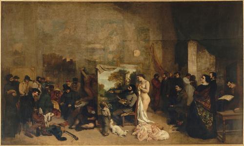 L'Atelier du peintre, allégorie réelle déterminant une phase de sept années de ma vie artistique (détail) (entre 1854 et 1855), Courbet, Gustave