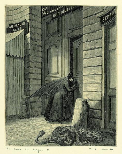 Max Ernst-Collage tiré de Une semaine de bonté. La cour du dragon 4
