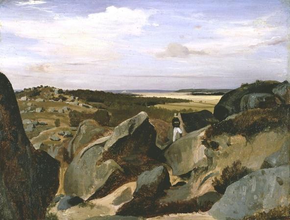 Camille Corot-Un artiste passant dans un chaos de rochers