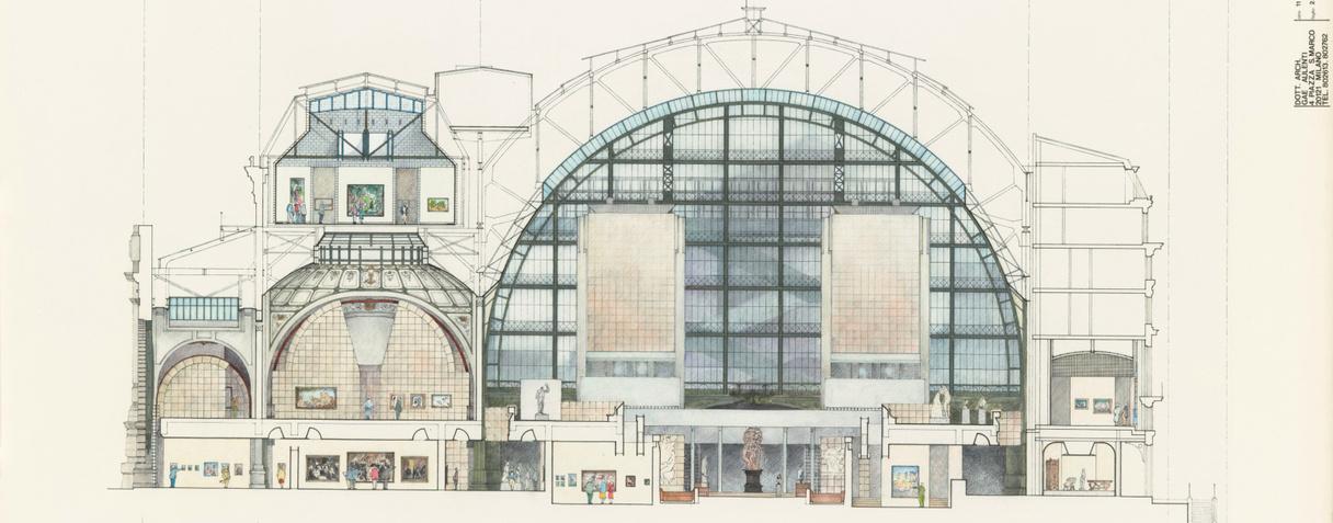 Aménagement intérieur du musée d'Orsay, coupe transversale