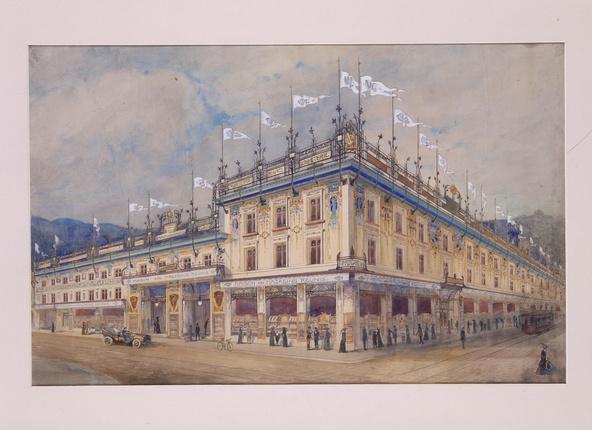 Joseph Hornecker-Les Magasins réunis à Epinal, projet de décor des façades