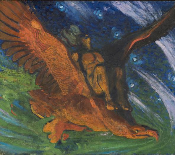Oskar Kallis-Kalev sur le dos de l'aigle