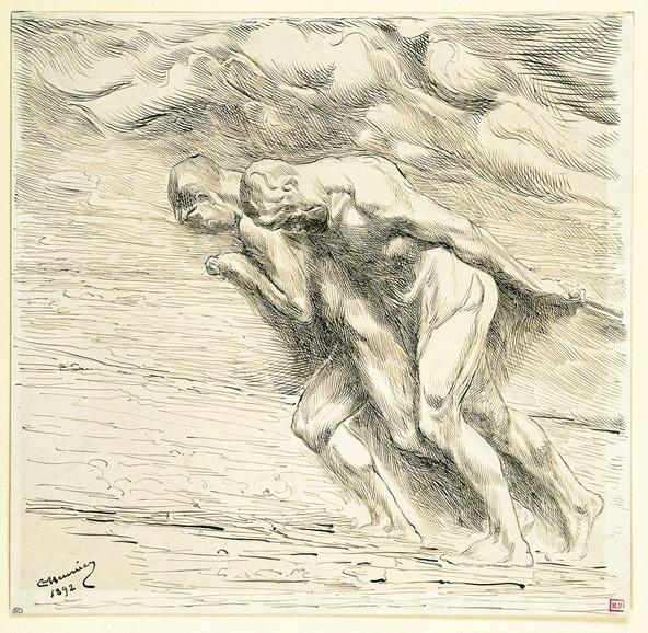 Constantin Meunier-Au Pays Noir : deux haleurs nus