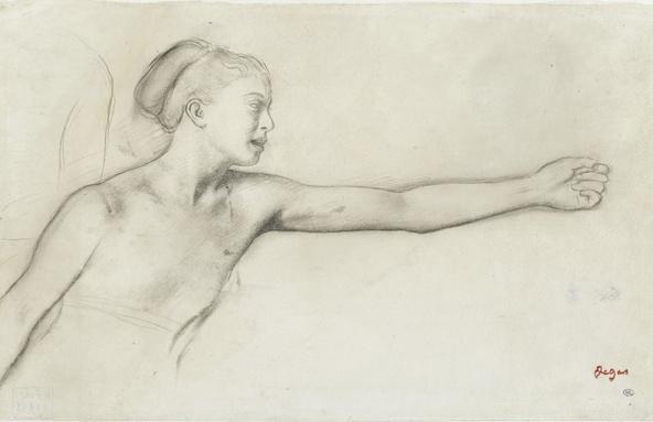 Edgar Degas-Jeune fille spartiate (vue à mi-corps, le bras tendu vers la droite)