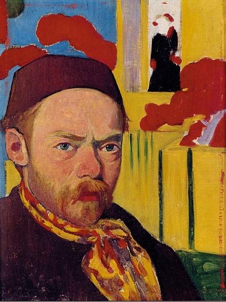 Meijer de Haan-Autoportrait sur fond japonisant