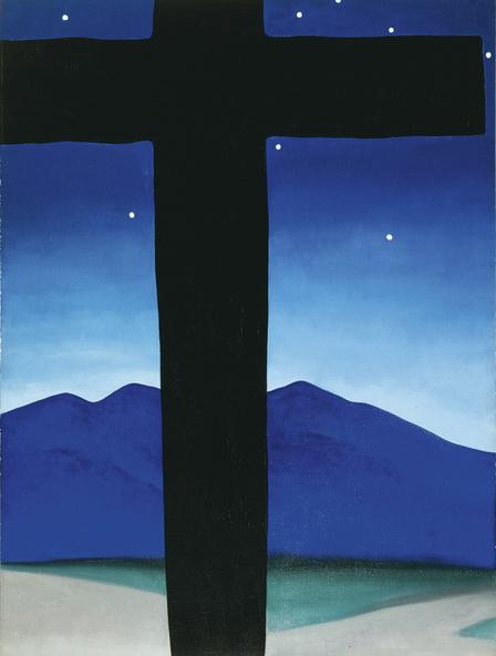Georgia O?RTMKeeffe-Croix noire aux étoiles, bleu (Black Cross with Stars and Blue)