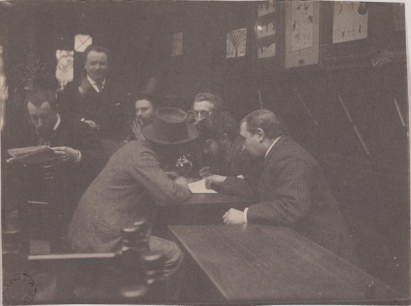 Henri Rivière-Membres du Chat noir conversant à une table