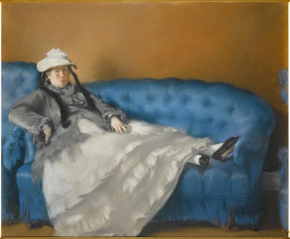 Edouard Manet-Portrait de Mme Manet sur un canapé bleu